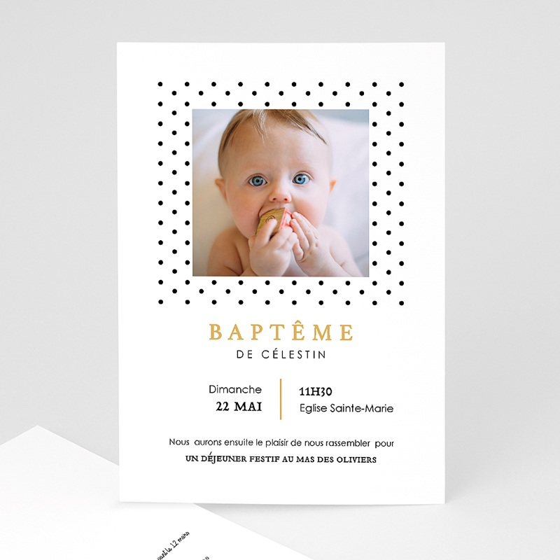 Faire-part Baptême Garçon - Confetti noirs 63971 thumb