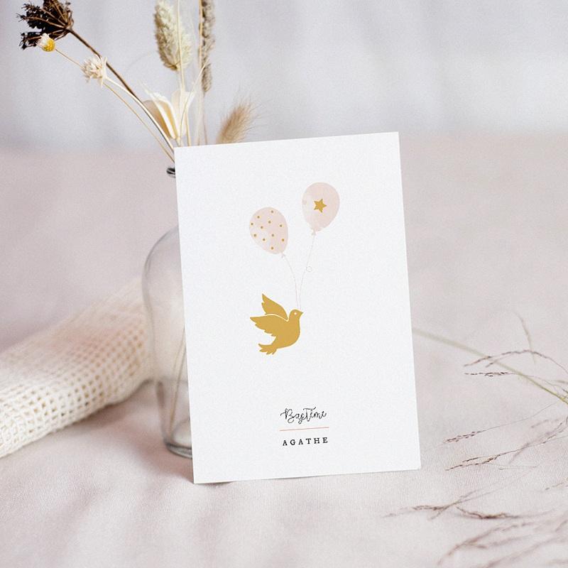 Carte remerciement baptême fille Colombe Dorée