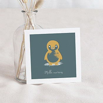 Créer soi même carte remerciement naissance animaux petit pingouin