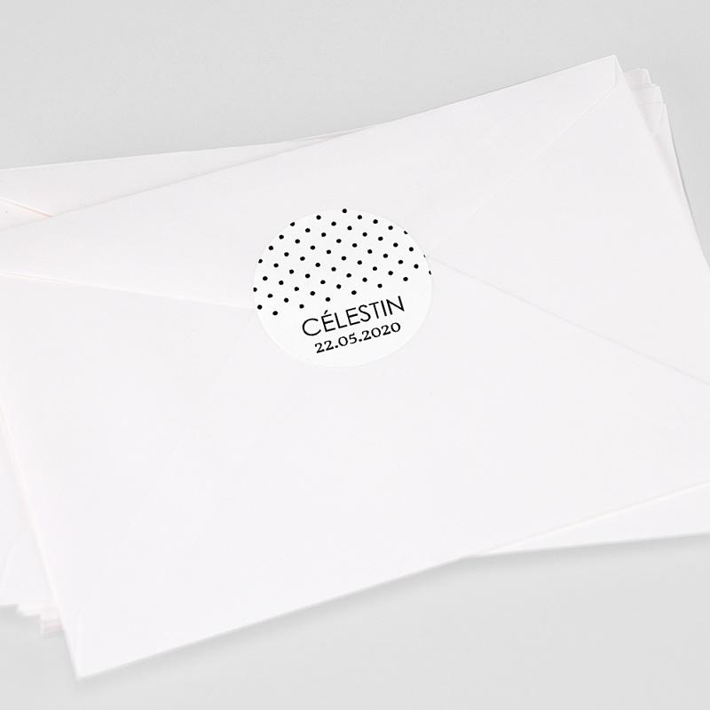 Etiquette Autocollante Baptême Confetti noirs