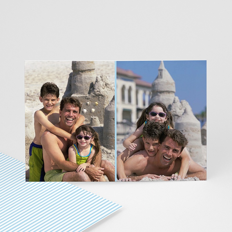 Cartes Multi-Photos 2 photos - Double Cadre - liseré bleu 6403 thumb