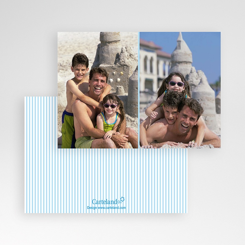 Cartes Multi-Photos 2 photos - Double Cadre - liseré bleu 6404 thumb