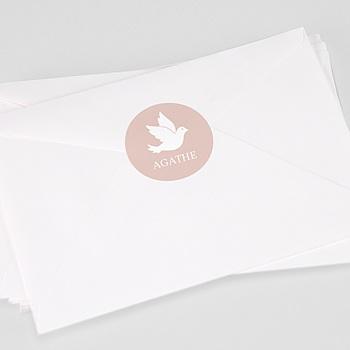 Achat etiquette autocollante baptême colombe poudrée