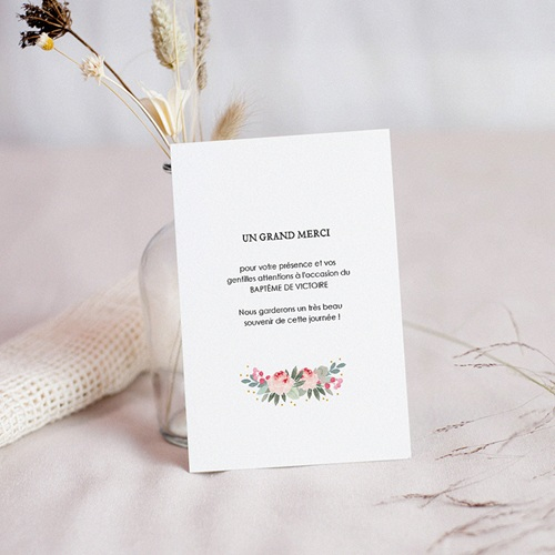 Carte Remerciement Baptême Fille Fleurs de baptême