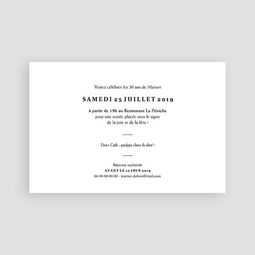 Carte invitation anniversaire 50 ans Joyfull Party 50 pas cher