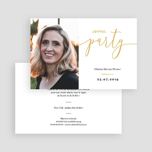 Carte invitation anniversaire 50 ans Joyfull Party 50 gratuit