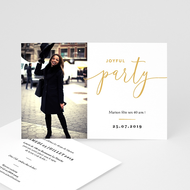 Carte invitation anniversaire 40 ans Joyful Party 40