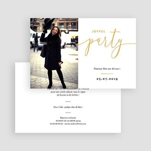Carte invitation anniversaire 40 ans Joyful Party 40 gratuit