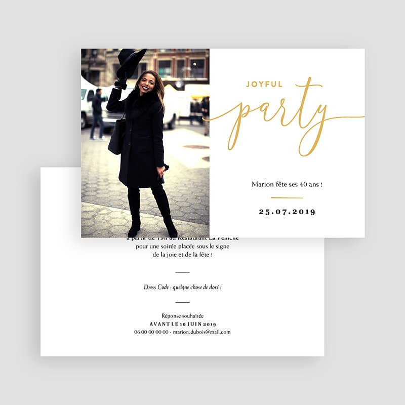 Invitation anniversaire 40 ans - Joyful Party 40 64123 thumb