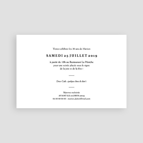 Carte invitation anniversaire 30 ans Joyful Party 30 pas cher