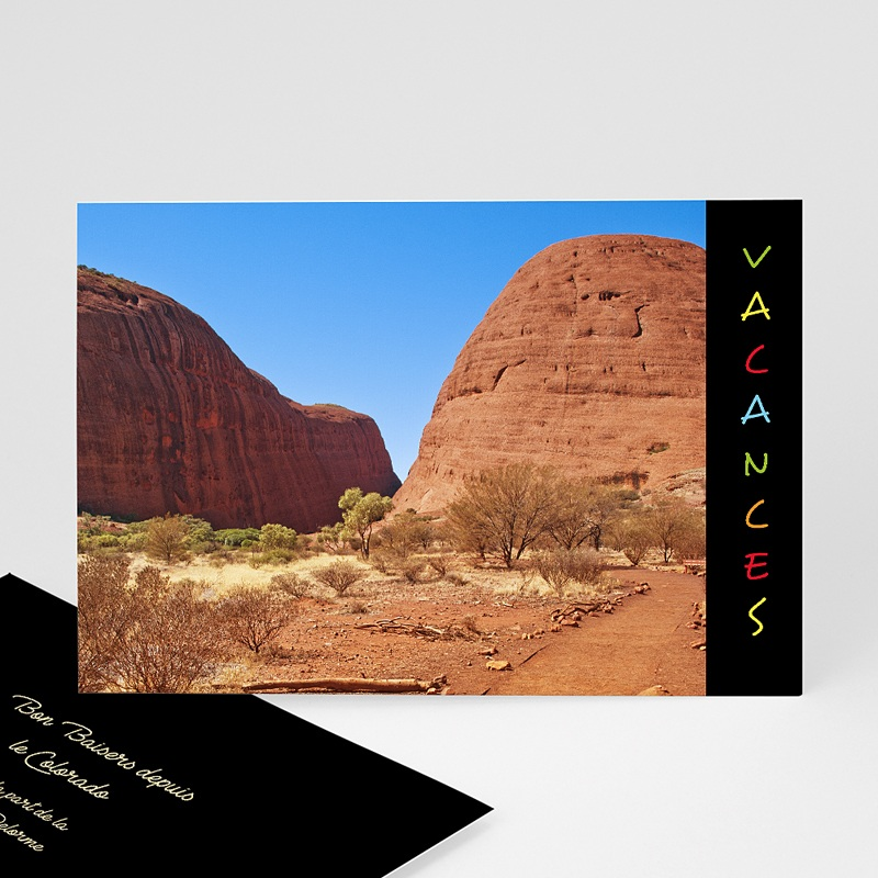 Carte personnalisée 1 photo Portrait - Bandeau noir