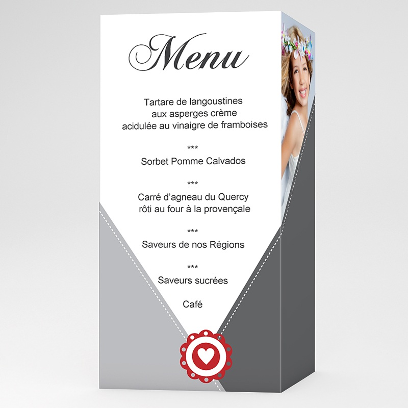 Menu communion Moderne coeur rouge