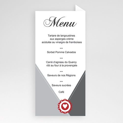 Menu de Communion - Moderne coeur rouge 6420 thumb