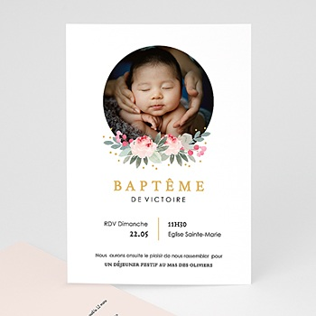 Faire-part Baptême Fille - Fleurs de baptême - 0