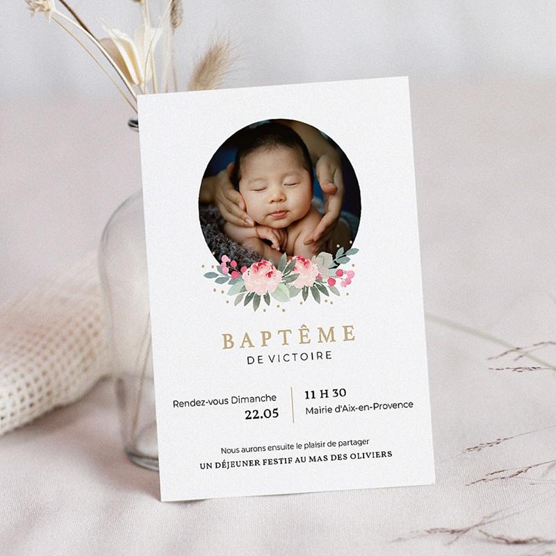 Faire-Part Baptême Fille Fleurs de baptême
