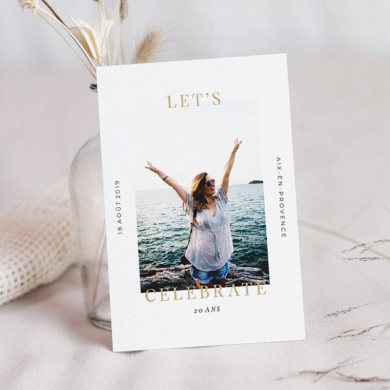 Carte invitation anniversaire 20 ans Chic Doré