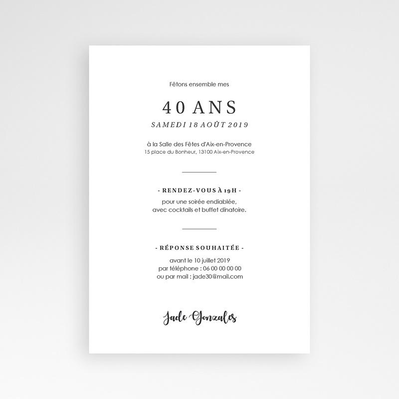 Carte invitation anniversaire 40 ans Fêtons 40 ans pas cher