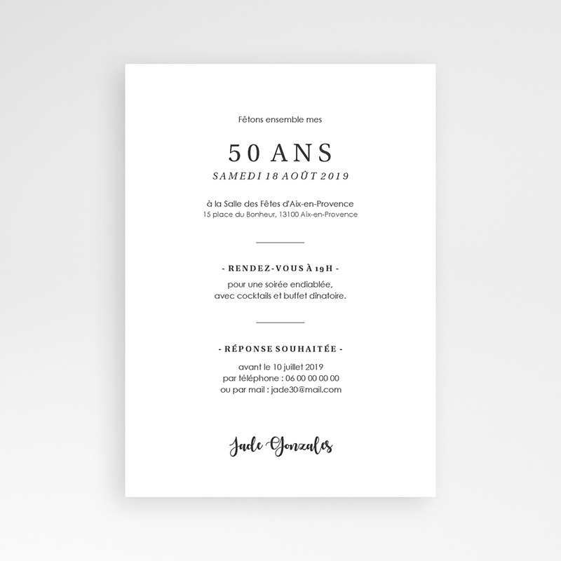 Carte invitation anniversaire 50 ans Fêtons 50 ans | Echantillon offert | Carteland