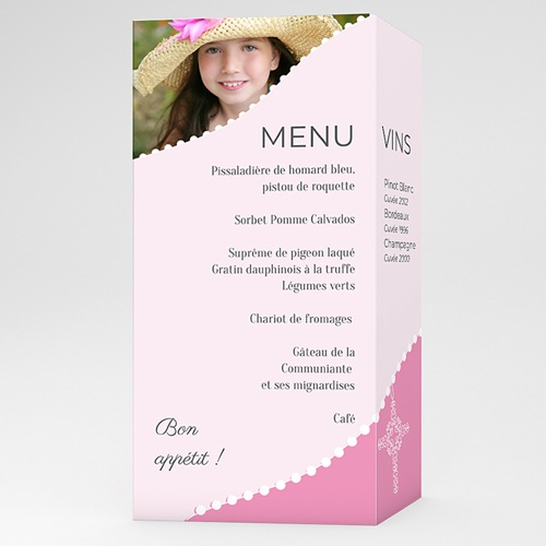 Menu communion Communion  sacrée - rose fille