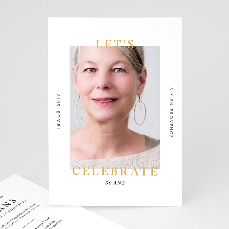 Carte invitation anniversaire 60 ans Fêtons 60 ans