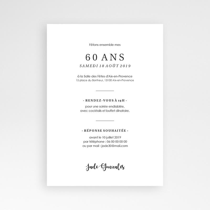 Carte invitation anniversaire 60 ans Fêtons 60 ans pas cher