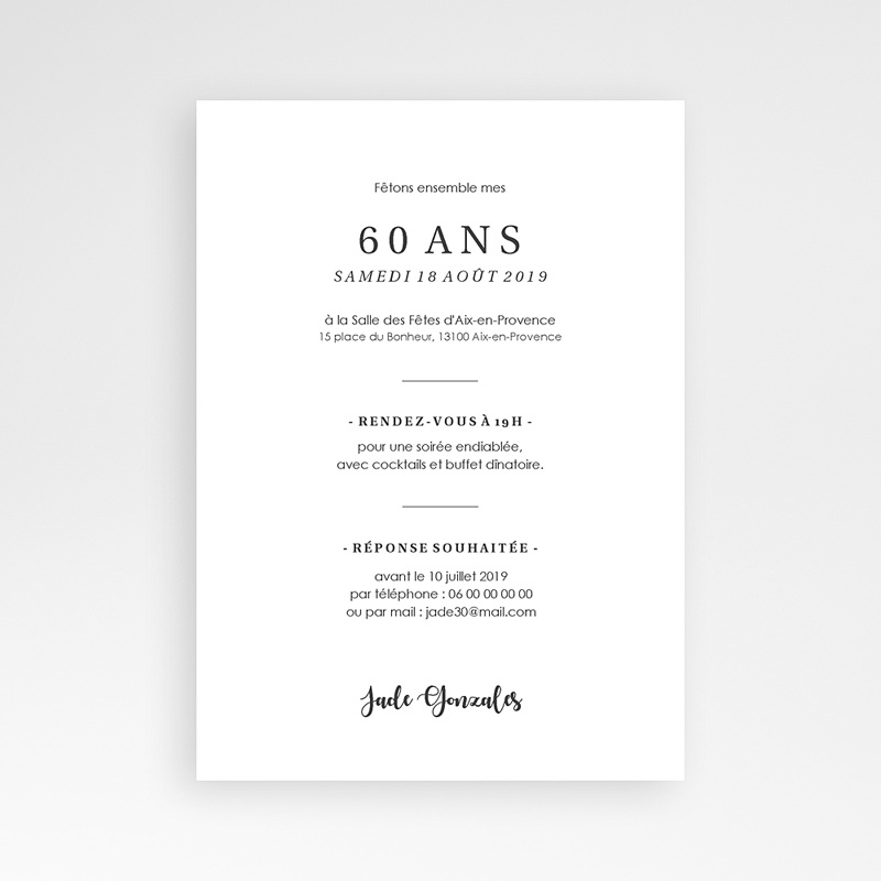 Invitation anniversaire 60 ans - Fêtons 60 ans 64277 thumb