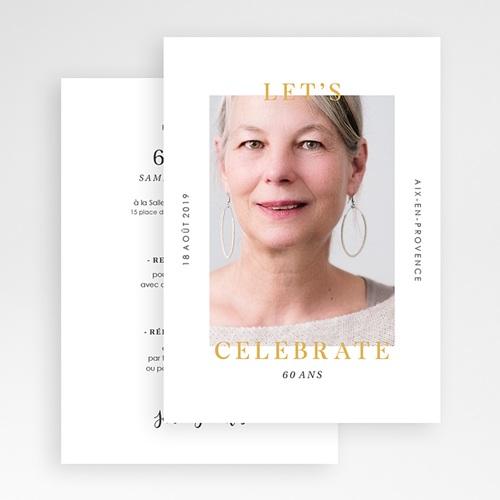 Carte invitation anniversaire 60 ans Fêtons 60 ans gratuit