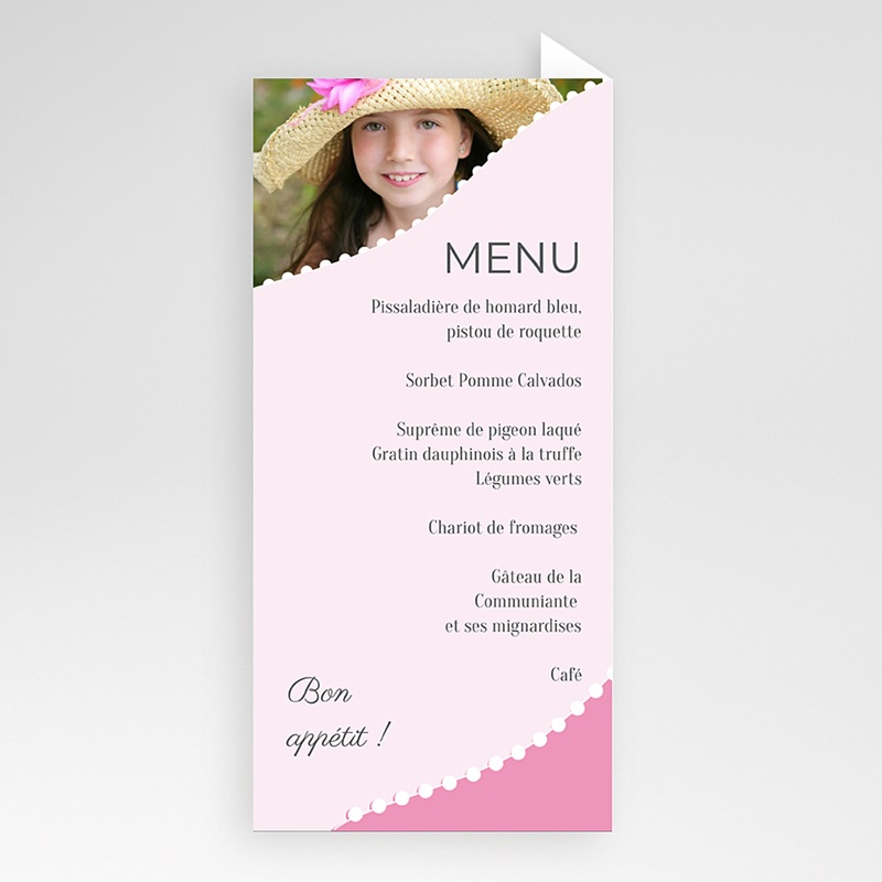 Menu de Communion - Communion  sacrée - rose fille 6428 thumb