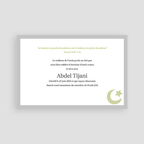 Carte remerciement décès musulman Dhakkir - Vert pas cher