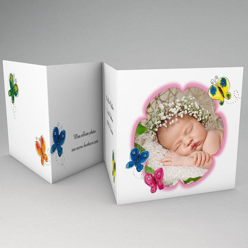 Faire-Part Naissance Fille - La fleur rose du papillon 64327 thumb