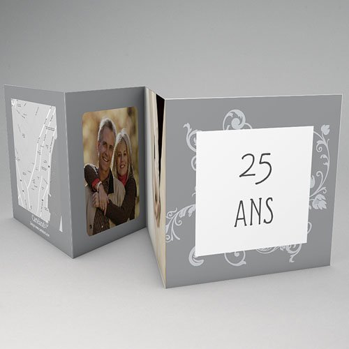 Carte invitation anniversaire mariage Argentissime