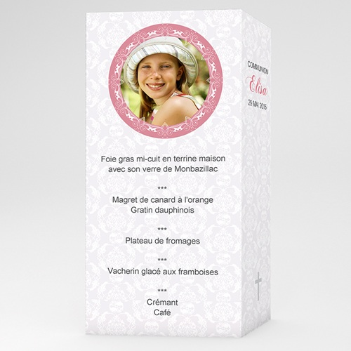 Menu de Communion - Foi - Rose 6443