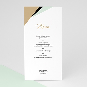 Menu de Mariage - Mint & Or - 0