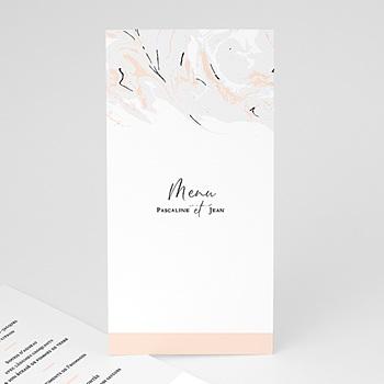 Menu de Mariage - Marbre Rose Pastel - 0
