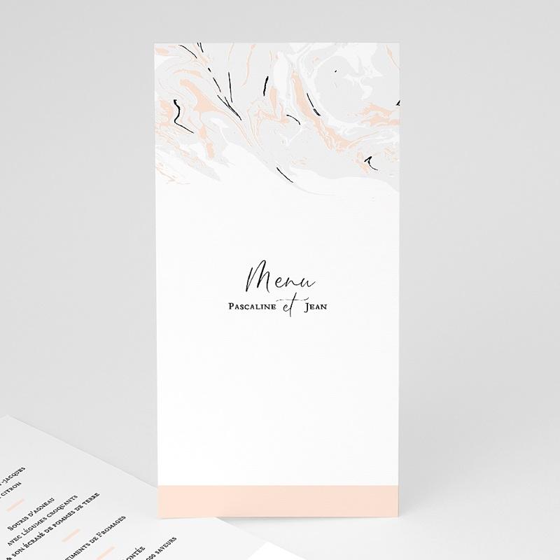 Menu Mariage Marbre Rose Pastel