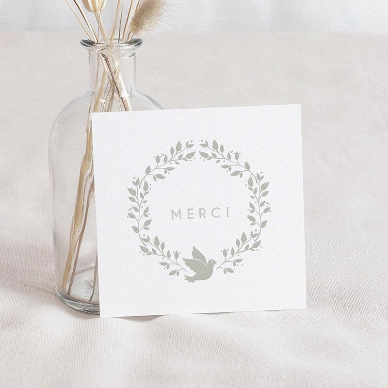 Carte Remerciement Baptême Garçon Couronne olive et colombe