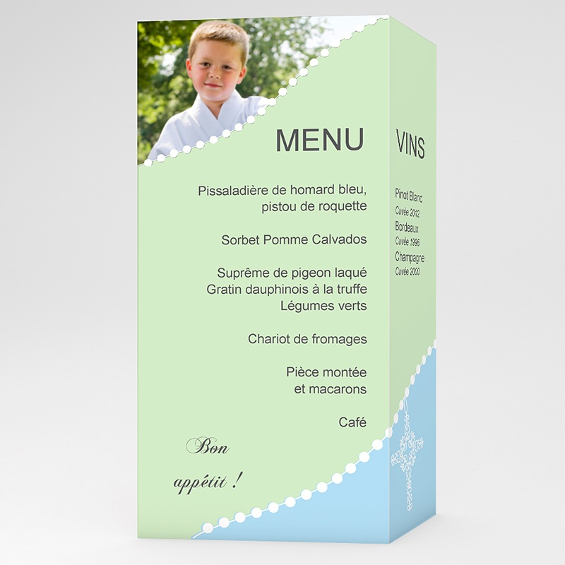 menu de communion cons cration bleu vert On modele menu communion