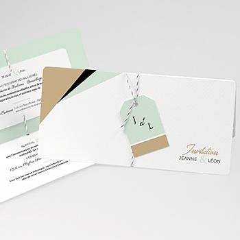 Faire Part Mariage creatif - Vert & Doré - 0