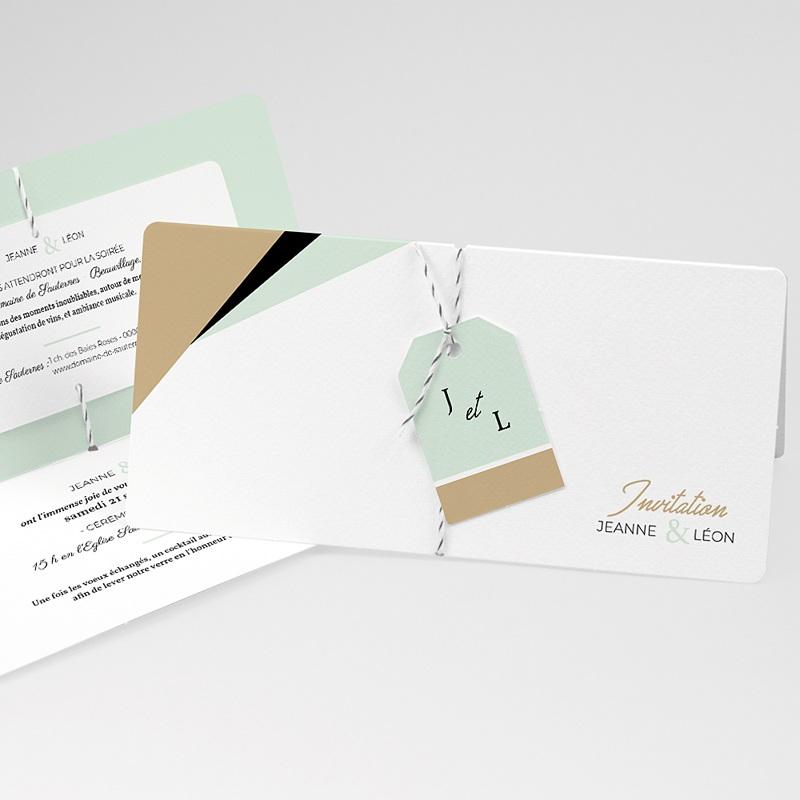 Faire-part mariage créatif Vert & Doré