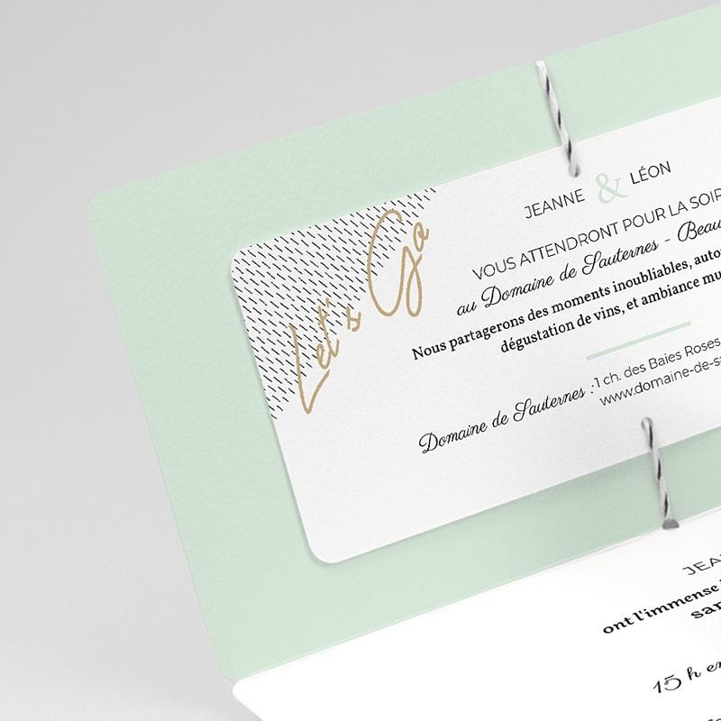 Faire-part mariage créatif Vert & Doré gratuit