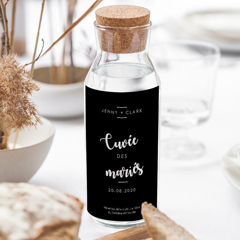 Etiquette Bouteille Mariage Vin Minimaliste Chic gratuit