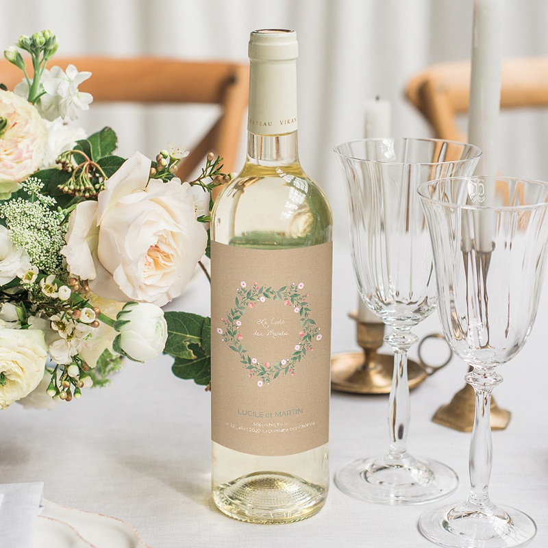 Etiquette bouteille mariage Sous la tonnelle