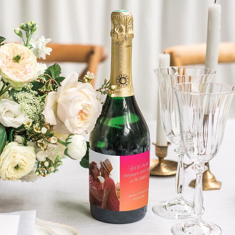 Etiquette Bouteille Mariage Flambloyant gratuit