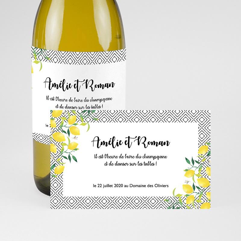 Etiquette bouteille mariage Parfum d'agrumes pas cher