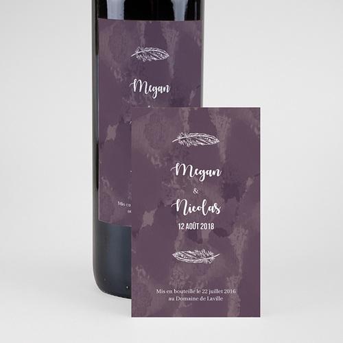 Etiquette Bouteille Mariage Boho Lie de Vin pas cher