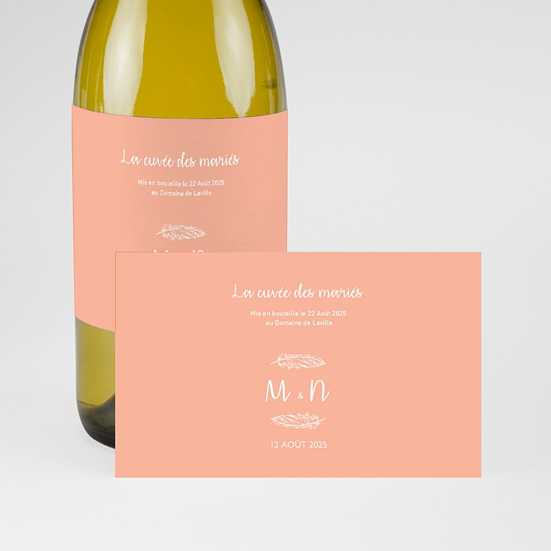 Etiquette Bouteille Mariage Boho Olive pas cher