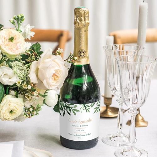 Etiquette bouteille mariage Végétal gratuit