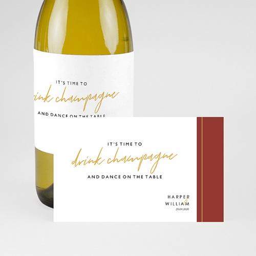 Etiquette Bouteille Mariage Or & Bordeaux pas cher