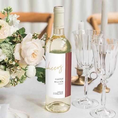 Etiquette Bouteille Mariage Or & Bordeaux