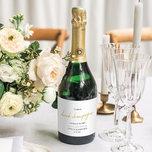 Etiquette bouteille mariage Vin Marinière or bleu gratuit